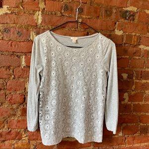Lace appliqué 3/4 shirt